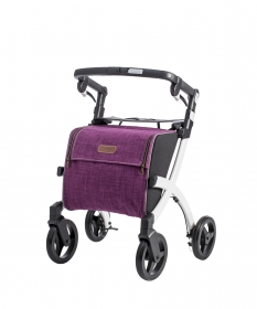 Rollator Rollz FLex wit purple tas