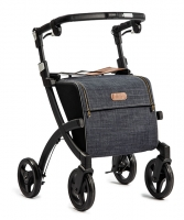 Rollator Rollz Flex zwart frame tas Denim grey